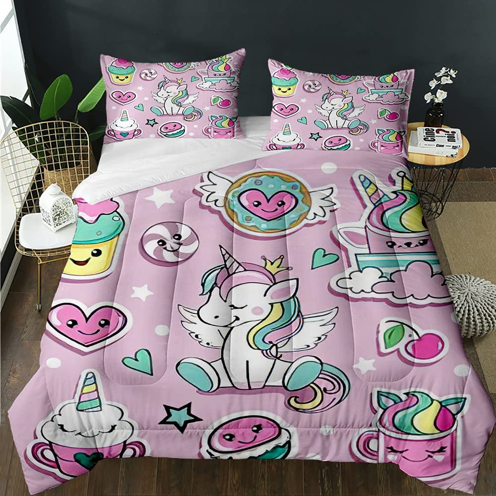 FRFFASHION Kawaii Comforter Some reservation Set Fashion and Badges Patch Unicorn OFFer