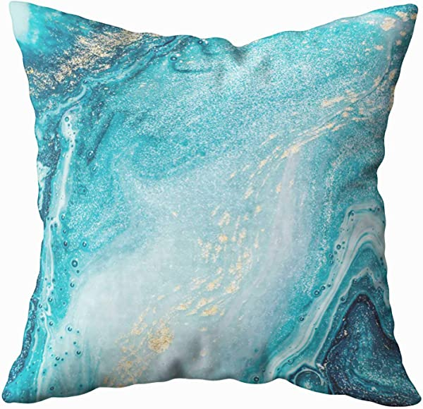 Musesh Sofa Zip Pillow Covers Abstract Ocean Art Natural Luxury Style The Swirls Of Marble Ripples Very Beautiful Blue Paint With Gold For Sofa Home Decorative Pillowcase 20X20Inch Pillow Covers