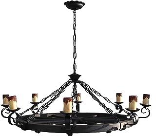 Lámpara rustica grande con rueda de carro 8 luces. Diámetro 105 cm. Lampara colgante de forja