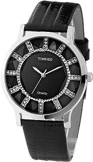 Time100 Women Retro Diamond Cutting Glass Black Leather Strap Golden Dial Ladies Watch