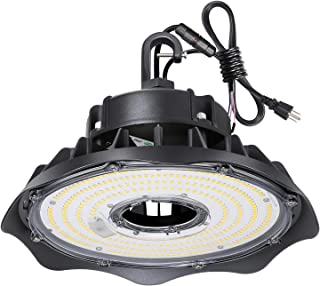 Hykolity 100W UFO LED High Bay Light Fixture, 13000lm 1-10V Dimmable 5000K 5` Cable with US Plug DLC Complied [175W/250W MH/HPS Equiv.] Commercial Warehouse/Workshop/Wet Location Area Light