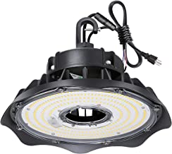 Hykolity 100W UFO LED High Bay Light Fixture, 13000lm 1-10V Dimmable 5000K 5' Cable with US Plug DLC Complied [175W/250W MH/HPS Equiv.] Commercial Warehouse/Workshop/Wet Location Area Light