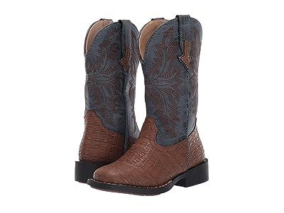 Roper Kids Adelia (Toddler/Little Kid) (Brown Faux Caiman Vamp/Blue Shaft) Cowboy Boots