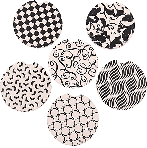 Pack Of 6 Ceramic Car Absorbent Coasters Auto Cup Holder Coasters Car Accessories To Keep Your Car Cup Holders Clean And Dry 2 56 Fit Most Cars