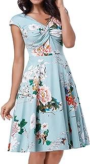 Belle Poque 1950s Vintage V Neck Floral Dress Retro Swing Cocktail Dress BP398