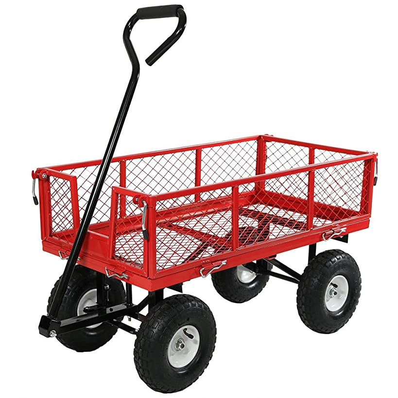 Sunnydaze Utility Steel Garden Cart, Outdoor Lawn Wagon with Removable Sides, Heavy-Duty 400 Pound Capacity, Red