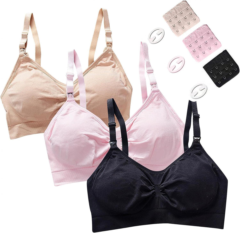 haozzaw 3 Pack Nursing Bras Seamless V Neck Maternity Bra Women Pregnancy Breastfeeding Bra Sports Bra-Padded Support Bra