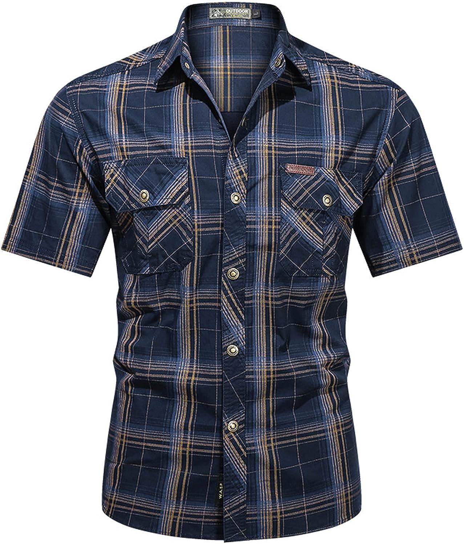 LIEIKIC Men's Short Sleeve Regular-Fit Work Shirt Western Cowboy Casual Button Down Cargo Shirts