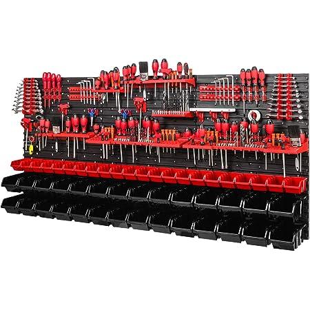PAFEN Étagère murale | 1728 x 780 mm | Système de stockage avec supports à outils et boîtes empilables – Plaques murales extra solides pour PAFEN (rouge/noir)
