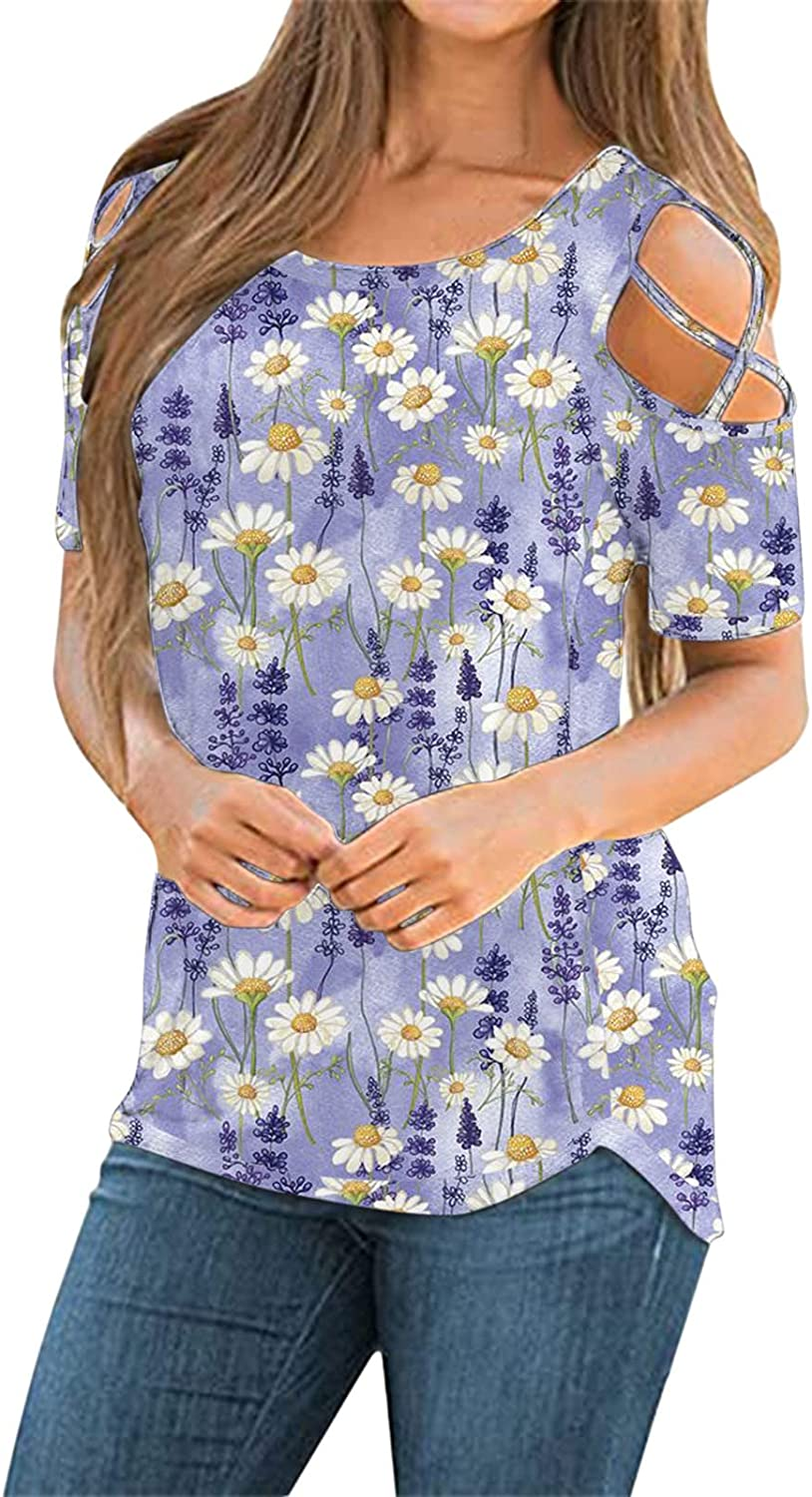 Short Sleeve Tops for Women,Womens Summer Casual T Shirts Short Sleeve Strappy Cold Shoulder Blouses Tunic Tee Tops Purple