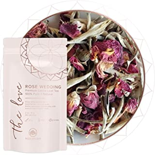 Rose Wedding Loose Leaf Tea (25+ cups) |Premium Jasmine Silver Needle White Tea | Rose Buds |Calming + Revitalizing Tea|10...