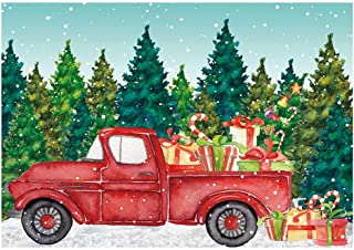 Funnytree 7x5ft Christmas Red Truck Party Backdrop Merry Xmas Snowy Winter Retro Car Photography Background Forest Gifts Fir Tree Scene Decoration Newborn Banner Photobooth Photo Studio Props
