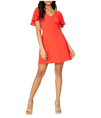 BB Dakota x Steve Madden Rayon Crepe Button Front Dress with Back Smocking (Coral) Women