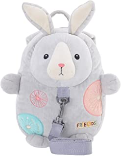 Me Too Kids Leash Bags Toddler Backpack with Safety Harness Playful Preschool Kids Diaper Bag for Little Children(12-36M) Gray Bunny