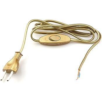 interruttore unipolare a pedale e spina europea Arditi cablaggio nero con cavo bipolare piatto H03VVH2-F 2x0.75 mm/²
