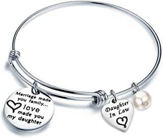 Daughter in Law Gift Marriage Made You Family Love Made You My Daughter Adjustable Wire Bangle Bracelet Keychain