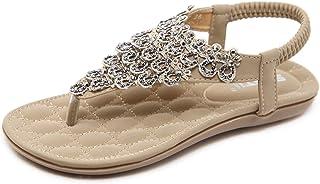 ZAPZEAL Sandales Plate Femmes Spartiate Perles Bohême Tongs Mode Claquettes Bout Ouvert Léger Chaussures de Plage et Pisci...
