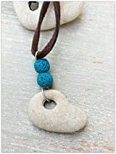 Holed Hag Stone Pendant, Womens Witch Amulet Necklace With Turquoise Lava Beads