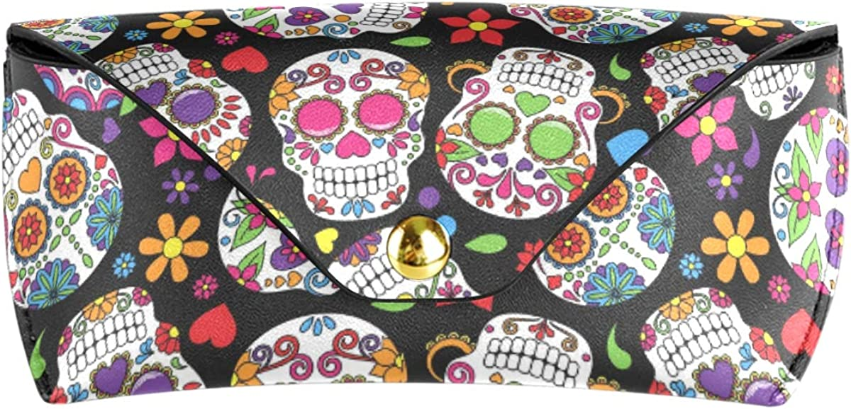 Multiuse Goggles Bag Wallet PU Leather Happy Lovely Floral Sugar Skull Portable Sunglasses Case Eyeglasses Pouch