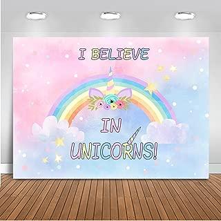 Mehofoto Unicorn Backdrop Pink Rainbow Unicorn Photography Background 7x5ft Vinyl I Believe in Unicorns Themed Birthday Party Banner Decoration Backdrops