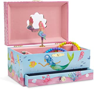 (Mermaid Blue and Pink) - JewelKeeper Mermaid Musical Jewellery Box, Underwater Design with Pullout Drawer, Over The Waves Tune