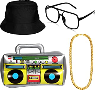 Hip Hop Costume Kit Hat Sunglasses Gold Chain 80s/ 90s Rapper Accessories (Bucket Hat, Boom Box)