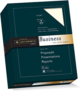 Southworth 25% Cotton Business Paper, 8.5 x 11 Inches, 24 lb, Ivory, 500 per Box (404IC)