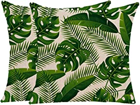 Wilproo Green Tropical Leaves Throw Pillow Covers, Set of 2 Green Leaves Both Sides Printed Decorative Cushion Covers Cotton Linen Sturdy Durable for Living Room Sofa Car Decor