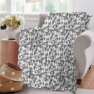 SSKJTC Warm Microfiber Blanket A Collection of Cacti Plant Silhouettes Greyscale Succulent Arrangement Desert Flora Grey Ivory Couch Bed Napping Reading Recliner W59 xL71