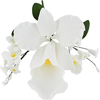 Global Sugar Art Cattleya Orchid Arched Sugar Cake Flowers Spray, White, 1 Count by Chef Alan Tetreault