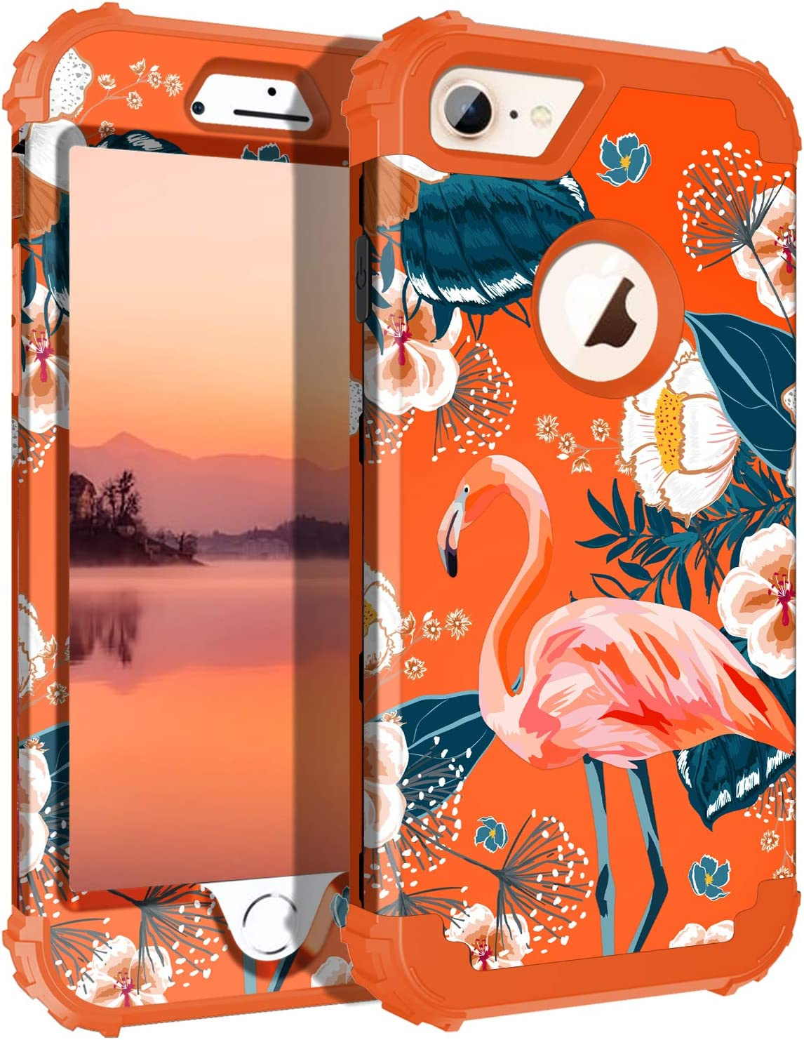 Casetego Compatible with iPhone 8 Case,iPhone 7 Case,Floral Three Layer Heavy Duty Hybrid Sturdy Shockproof Full Body Protective Cover Case for Apple iPhone 8/7,Flamingo