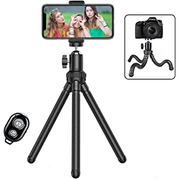 Phone Tripod,Shengsite Portable and Extendable Camera Tripod Stand with Wireless Remote 360°Rotating Adjustable Flexible Cell Phone Tripod Compatible with iPhone, Android Phone, Camera, Sports Camera