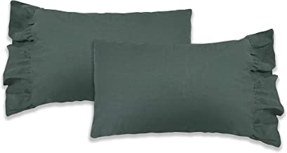 Rustic Heart French Country Pillow Case (Stone Washed Forest Green, Queen Size)