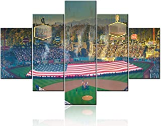 5 Panel Canvas Painting Wall Art Giant US Flag in Dodger Stadium Pictures Los Angeles Dodgers versus Boston Red Sox Framed...