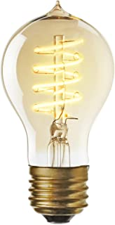 A19 LED Edison Bulb 4W - Fully Dimmable, Decorative Vintage Style Light Bulb, Spiral Filament, E26 Base, Warm White, 120V, Crown Heights Collection