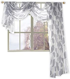 """KEQIAOSUOCAI Beautiful Leaves Embroidery Sheer Window Scarf, Quilted Polyester, Grey, 52""""W X 144""""L"""