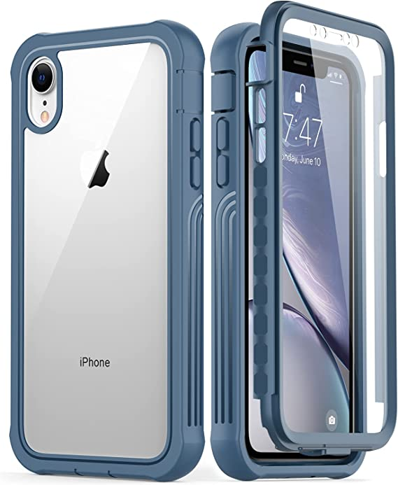 GOODON iPhone XR Case with Built-in Screen Protector,Pass 20 ft. Drop Test Military Grade Shockproof Clear Cover 360 Full Body Protective Phone Case for Apple iPhone XR Blue