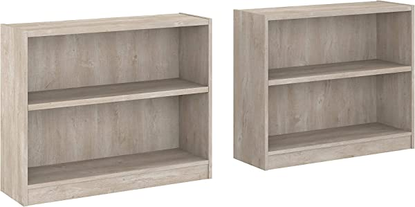 Bush Furniture UB001WG Universal 2 Shelf Bookcase Set Of 2 Washed Gray