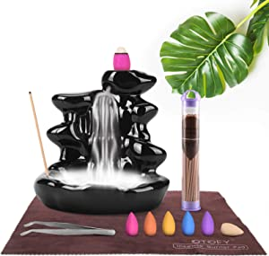 OTOFY Handmade Backflow Incense Burner Waterfall Incense Holder with 90 Incense Cones + 50 Incense Sticks Sets, Aromatherapy Ornament Home Decor Gift Decorations Statue(Black Mountain)