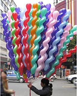 FUNPRT 40 Inches Latex Spiral Balloons 100 Count Assorted Boys Girls Birthday Party Balloons