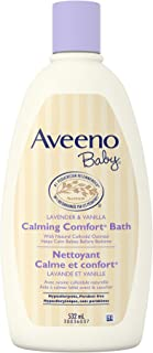 Aveeno Baby Bath Wash, Calming Comfort Gentle Bedtime Baby Body Wash, Paraben Free, Lavender, 532 mL