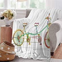 CRANELIN Warm Microfiber Blanket Colorful Tandem Bicycle Design on White Background Pattern Clipart Style Print Multicolor Bed Sleeping Travel Pets Reading W40 xL60
