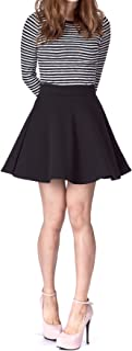 Basic Solid Stretchy Cotton High Waist A-line Flared Skater Mini Skirt