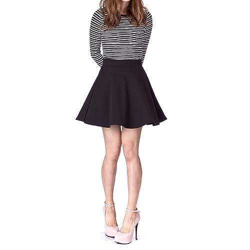 610c2b8b84 Basic Solid Stretchy Cotton High Waist A-line Flared Skater Mini Skirt