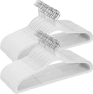 SONGMICS Hangers, 50 Pack Plastic Coat Hangers, Space Saving Clothes Hanger with Non-Slip Stripe and 360° Swivel Hooks, 0.2 Inch Thickness, White UCRP50W