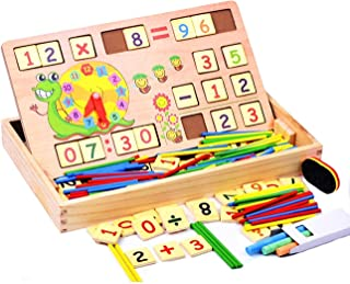 Happy GiftMart Multi Functional Wooden Maths Toy, Number Blocks, Wooden Calculator, Blackboard, Sticks Montessori Mehtod f...