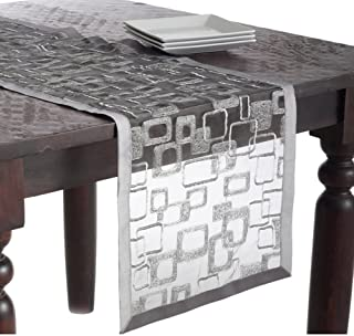 Fennco Styles Mondrian Embroidered Geometric Design Rectangular Table Runner (Silver, 16