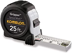 Komelon SM5425 Speed Mark Gripper Acrylic Coated Steel Blade Measuring Tape, 1-Inch X 25Ft, White - 2 Pack