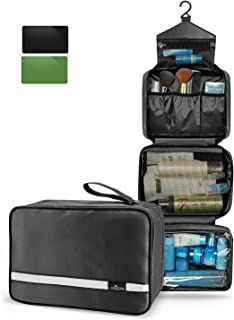 Hanging Travel Toiletry Bag | Toiletry Kit for Men and Women | Foldable Travel Cosmetics Makeup Bag| Portable Waterproof Bathroom Shower Bag Hygiene Bag | 6.8L Large Capacity (Black)