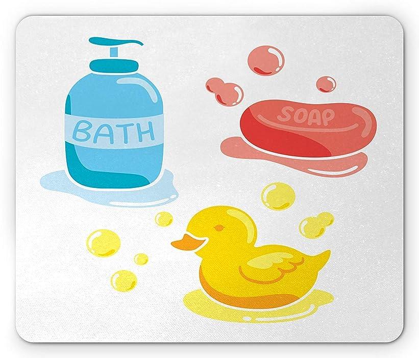 姪エキス参加するダッキーズマウスパッド、入浴パターン石鹸シャンプーとゴムグッズカラフルな落書き、標準サイズの長方形滑り止めラバーマウスパッド、コーラルアースイエローブルー